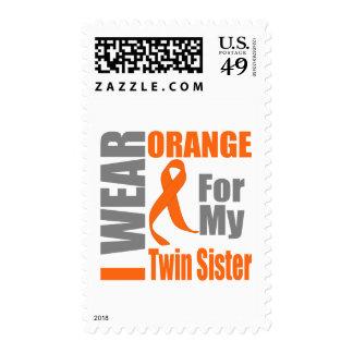Multiple Sclerosis I Wear Orange Twin Sister Postage Stamp