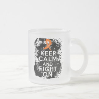 Multiple Sclerosis Keep Calm and Fight On Frosted Glass Coffee Mug