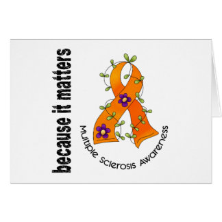 Multiple Sclerosis MS Flower Ribbon 3 Greeting Cards