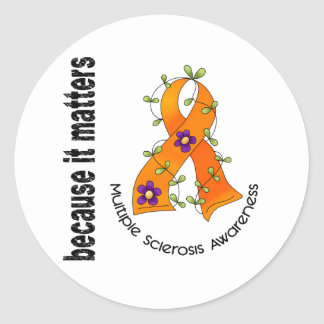 Multiple Sclerosis MS Flower Ribbon 3 Classic Round Sticker