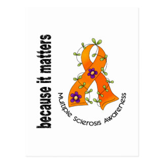Multiple Sclerosis MS Flower Ribbon 3 Postcard