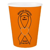 Multiple Sclerosis, MS, Name Customizable Ribbon Paper Cup