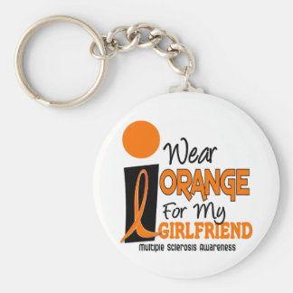 Multiple Sclerosis MS Orange For My Girlfriend 9 Keychain
