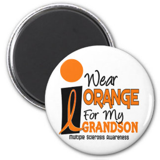 Multiple Sclerosis MS Orange For My Grandson 9 2 Inch Round Magnet