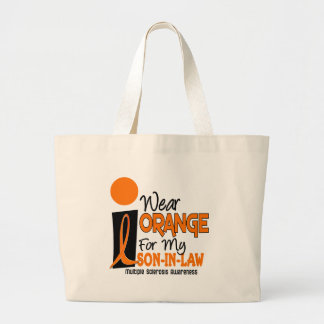Multiple Sclerosis MS Orange For My Son-In-Law Large Tote Bag