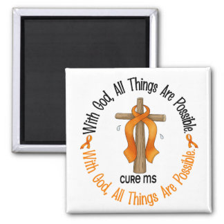 Multiple Sclerosis MS WITH GOD CROSS 1 2 Inch Square Magnet