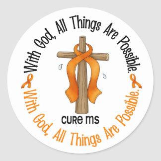 Multiple Sclerosis MS WITH GOD CROSS 1 Classic Round Sticker