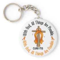 Multiple Sclerosis MS WITH GOD CROSS 1 Keychain