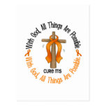 Multiple Sclerosis MS WITH GOD CROSS 1 Postcard