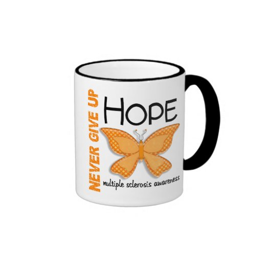 Multiple Sclerosis Never Give Up Hope Butterfly 4 Ringer Coffee Mug