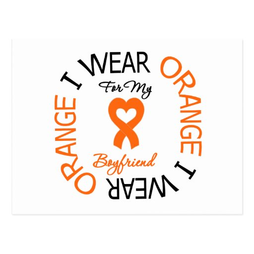 Multiple Sclerosis Orange Ribbon Boyfriend Post Cards