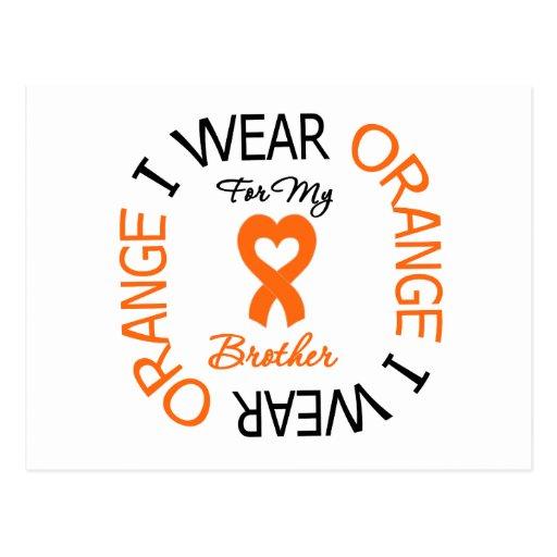 Multiple Sclerosis Orange Ribbon Brother Postcards