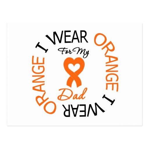 Multiple Sclerosis Orange Ribbon Dad Post Cards