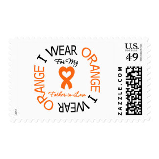 Multiple Sclerosis Orange Ribbon Father-in-Law Postage Stamp