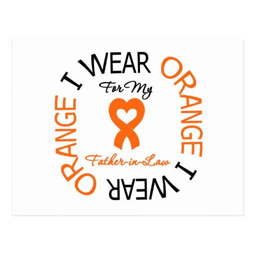 Multiple Sclerosis Orange Ribbon Father-in-Law Post Card