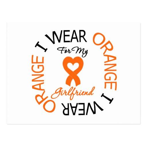 Multiple Sclerosis Orange Ribbon Girlfriend Post Cards