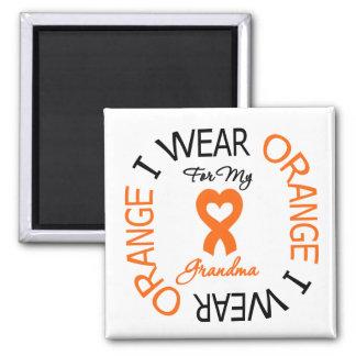 Multiple Sclerosis Orange Ribbon Grandma 2 Inch Square Magnet