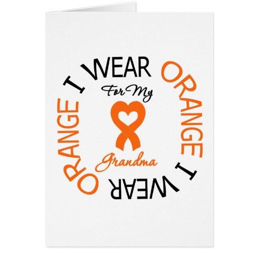 Multiple Sclerosis Orange Ribbon Grandma Greeting Cards