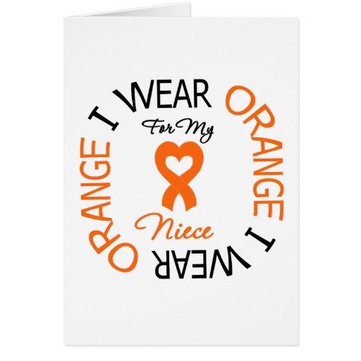 Multiple Sclerosis Orange Ribbon Niece Card