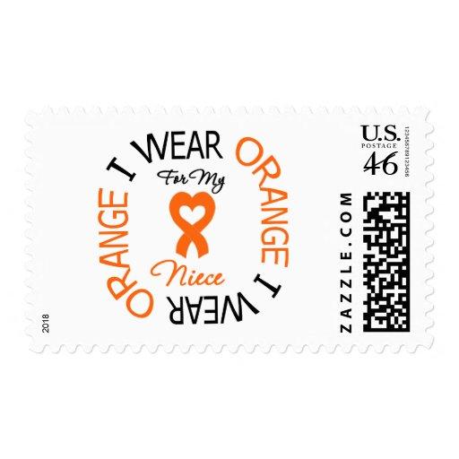 Multiple Sclerosis Orange Ribbon Niece Postage Stamp