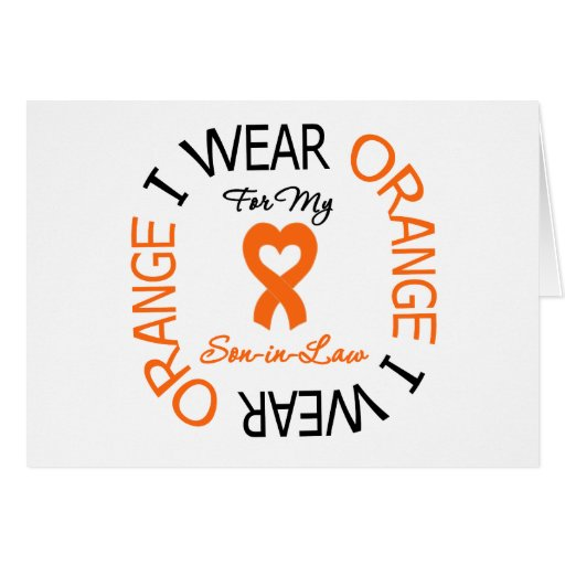 Multiple Sclerosis Orange Ribbon Son-in-Law Greeting Cards