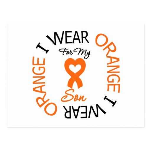 Multiple Sclerosis Orange Ribbon Son Postcard