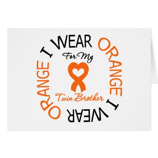 Multiple Sclerosis Orange Ribbon Twin Brother Card