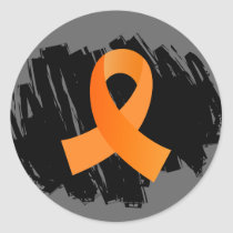 Multiple Sclerosis Orange Ribbon With Scribble Classic Round Sticker