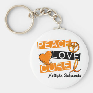 Multiple Sclerosis PEACE LOVE CURE 1 Basic Round Button Keychain