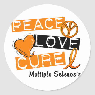 Multiple Sclerosis PEACE LOVE CURE 1 Classic Round Sticker