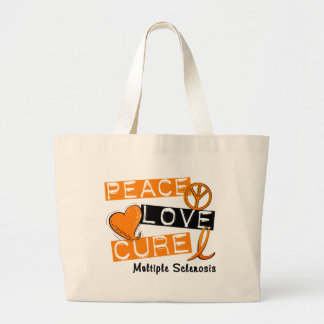 Multiple Sclerosis PEACE LOVE CURE 1 Large Tote Bag