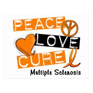 Multiple Sclerosis PEACE LOVE CURE 1 Postcard
