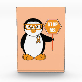 Multiple Sclerosis Penguin with a Stop Sign Acrylic Award