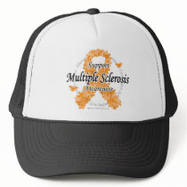 Multiple Sclerosis Ribbon of Butterflies Trucker Hat