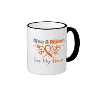 Multiple Sclerosis Tribal Deco Ribbon Hero Ringer Coffee Mug