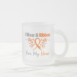 Multiple Sclerosis Tribal Deco Ribbon Hero 10 Oz Frosted Glass Coffee Mug