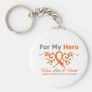 Multiple Sclerosis Tribal Ribbon Hero Basic Round Button Keychain