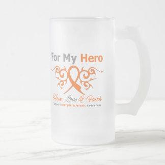 Multiple Sclerosis Tribal Ribbon Hero 16 Oz Frosted Glass Beer Mug