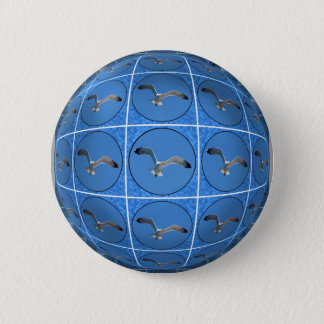 Multiple seagulls in sphere pinback button