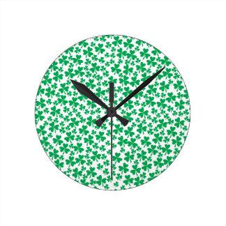 Multiple Shamrocks Round Clock