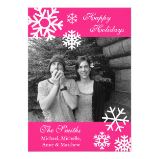 Multiple Snowflakes Christmas Photo Card Hot Pink Custom Invitations