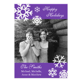 Multiple Snowflakes Christmas Photo Card Purple Custom Announcement