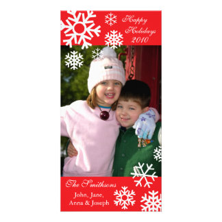 Multiple Snowflakes Christmas Photo Card Red