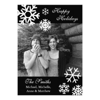 Multiple Snowflakes Christmas Photo Cards Black Invite