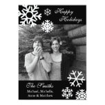 "Multiple Snowflakes Christmas Photo Cards (Black) 5"" X 7"" Invitation Card"
