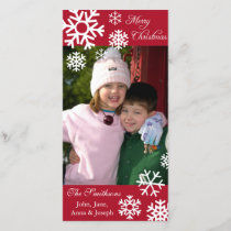 Multiple Snowflakes Christmas Photocard (Burgandy) Holiday Card