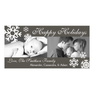 Multiple Snowflakes Christmas Photocard Dark Gray Photo Card Template