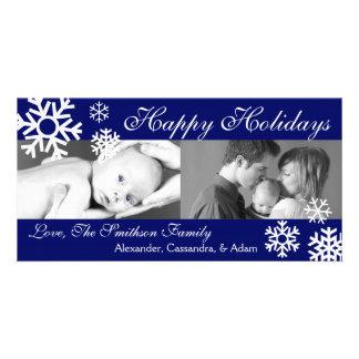 Multiple Snowflakes Christmas Photocard Navy Blue Photo Card Template