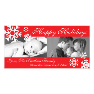 Multiple Snowflakes Christmas Photocard Red Custom Photo Card
