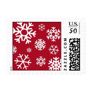 Multiple Snowflakes Christmas Postage Burgandy